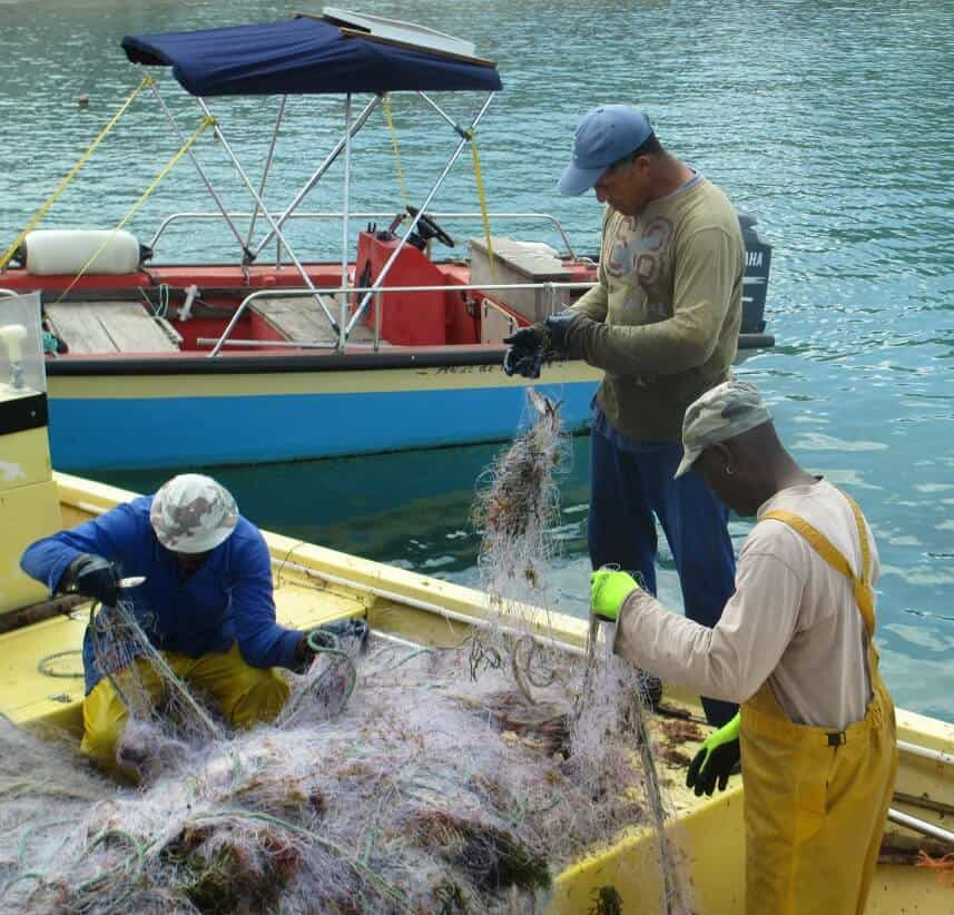 Fishermen combing the nets after a day's work