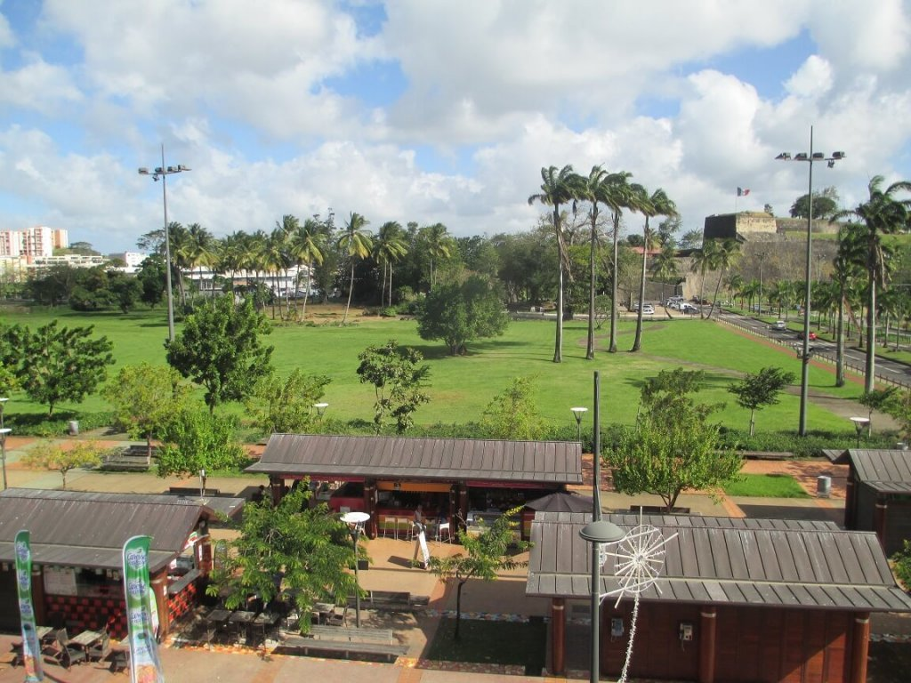 La Savane Park with the fort in the distance