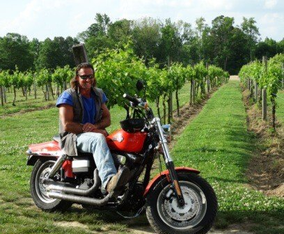 Peace Among The Grapes at Jules J. Berta Winery. Jules on his motorcycle