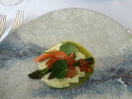 Salmon, roe, and asparagus. Scotland.