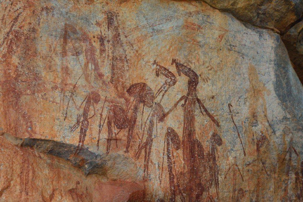 Gwion Gwion (Bradshaw) rock art in the east Kimberley featuring kangaroo headdress
