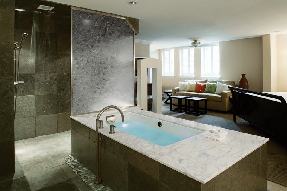 Immersion Suite Guest Room at The Carriage House, The American Club, Kohler, Wisconsin, photo courtesy Kohler Co. FWT Magazine.