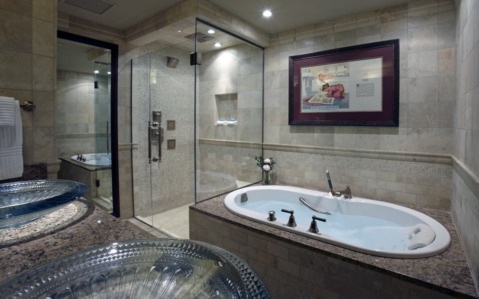 Governor's Suite Bathroom room, The American Club, Kohler, Wisconsin, photo courtesy Kohler Co. FWT Magazine.