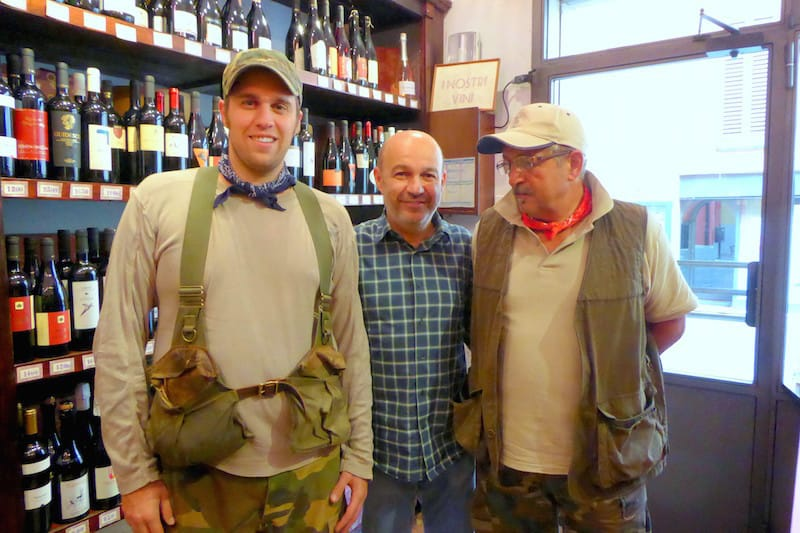 Chef Alberto Bettini flanked by truffle hunters, Maurizio Lorenzini on the left with his father-in-law Adriano Bartolini on the right