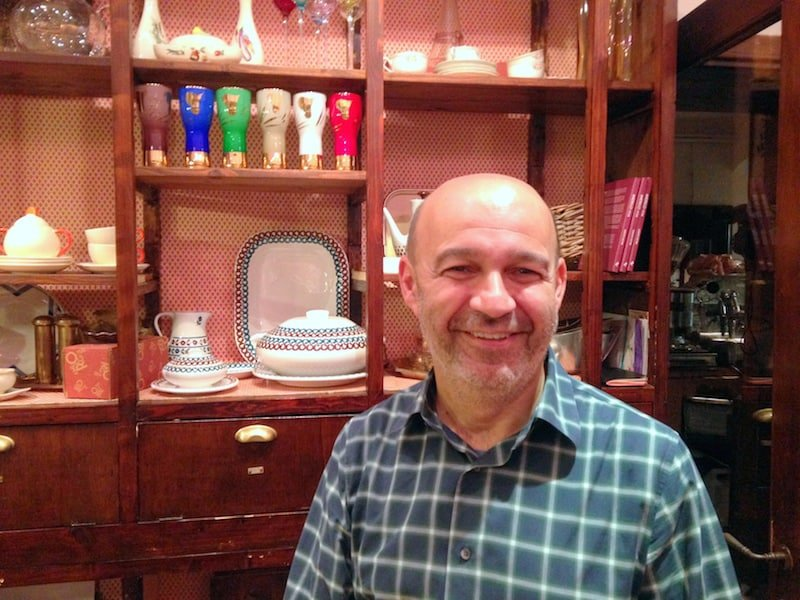 Chef Alberto Bettini in the dispensa (grocery store)