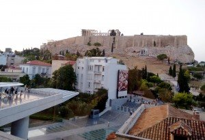 View of the Parthanon from The Acropolis Museum, Athens, Greece