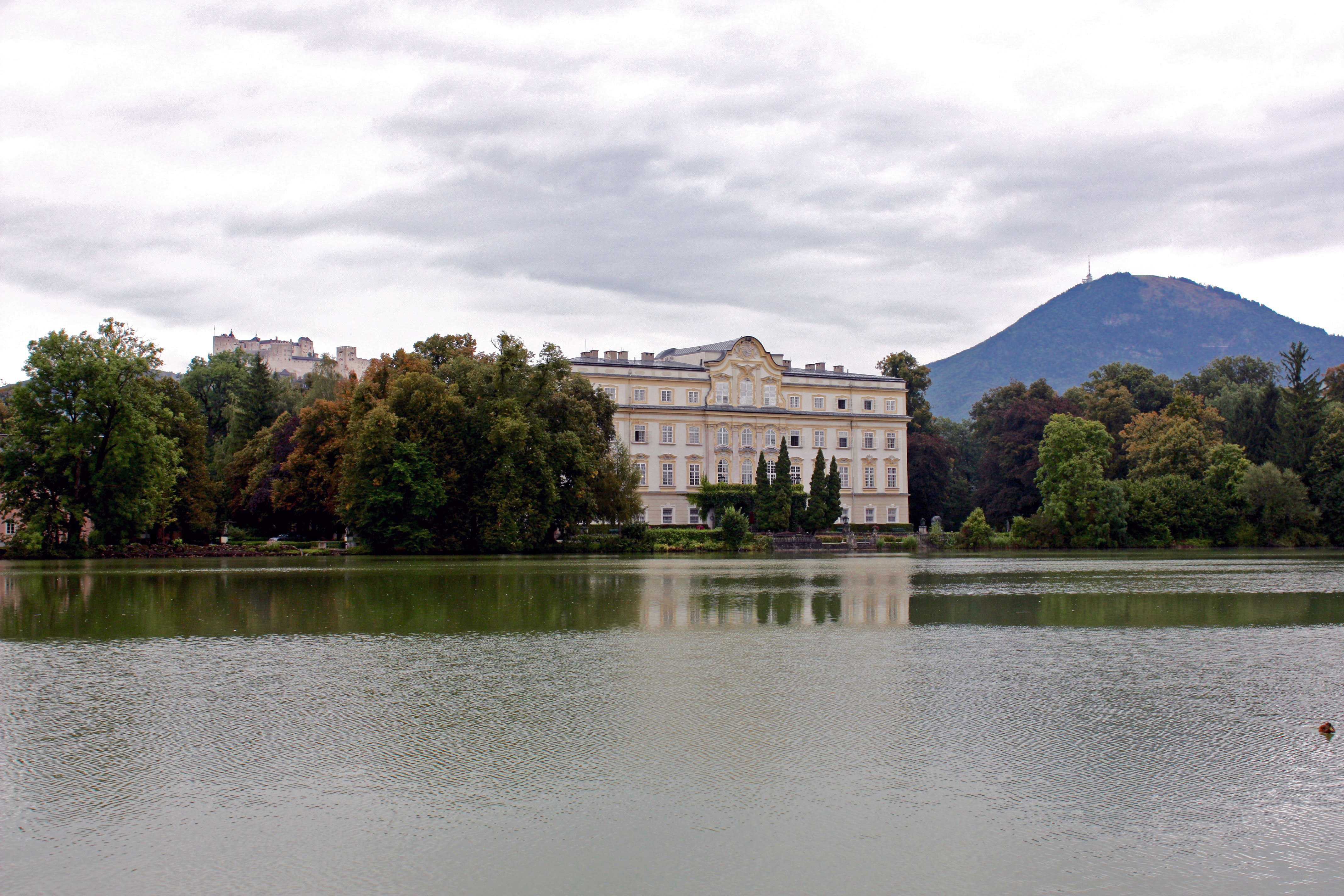 Leopoldskron Palace, in Leopoldskron-Moos, with Hohensalzburg Fortress in the background