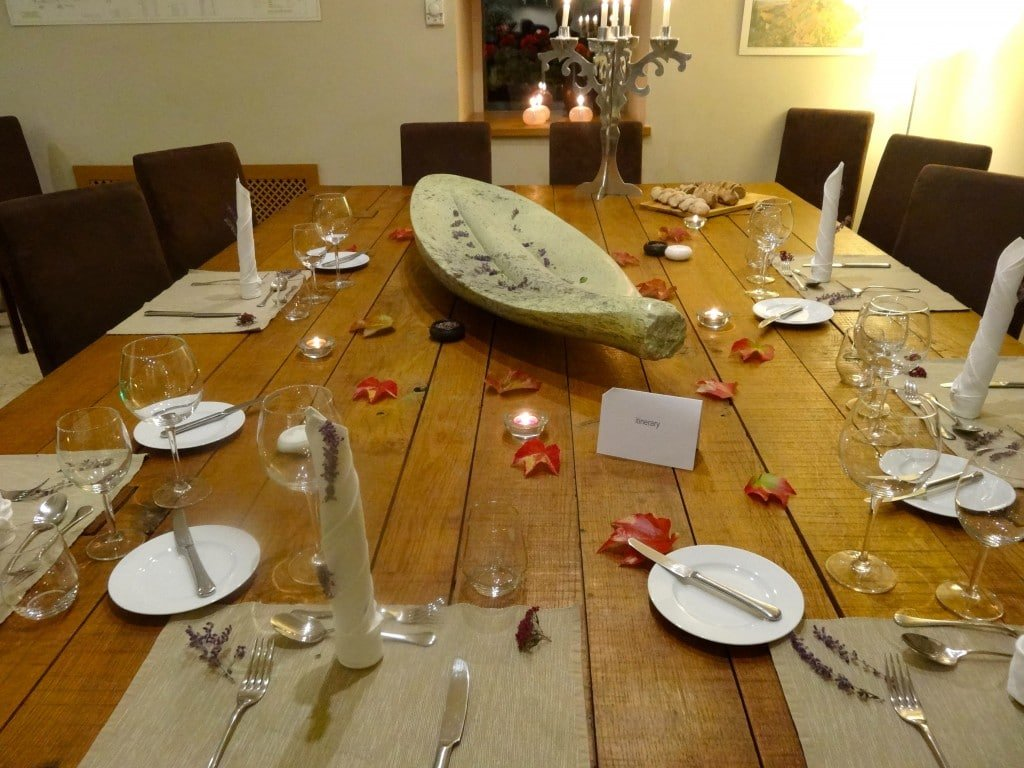 Table set for dinner at La Ferme de la Lochère Photo by Maurie O'Connor
