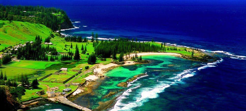 Aerial view of Kingston in Norfolk Island.