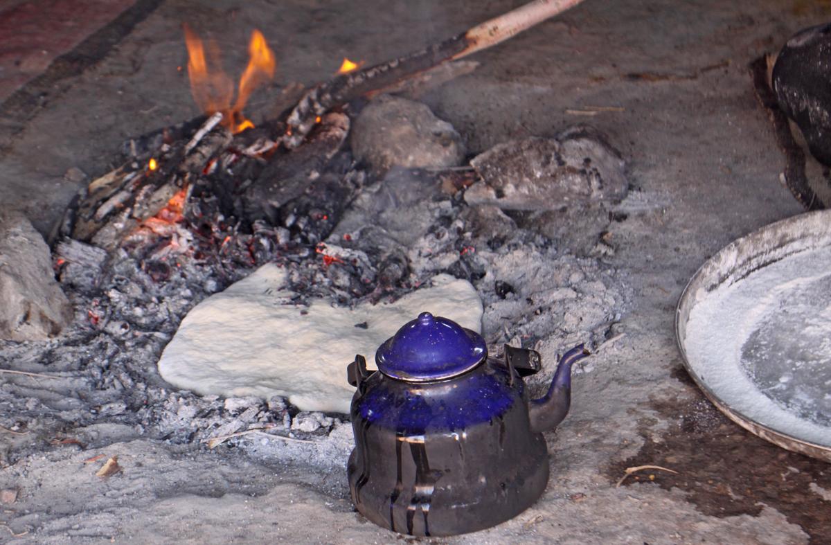 bread dough in a campfire