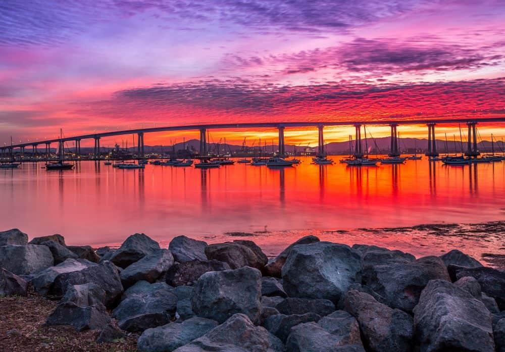 Photo of the Coronado bridge on sunset. FWT Magazine.