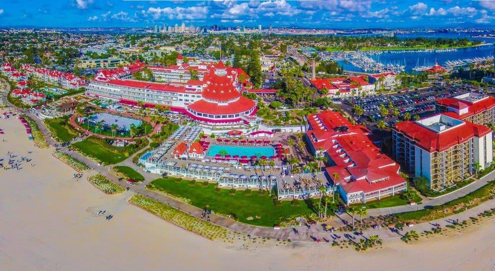 Photo showing a bird's eye view of Del Coronado Hotel. FWT Magazine.