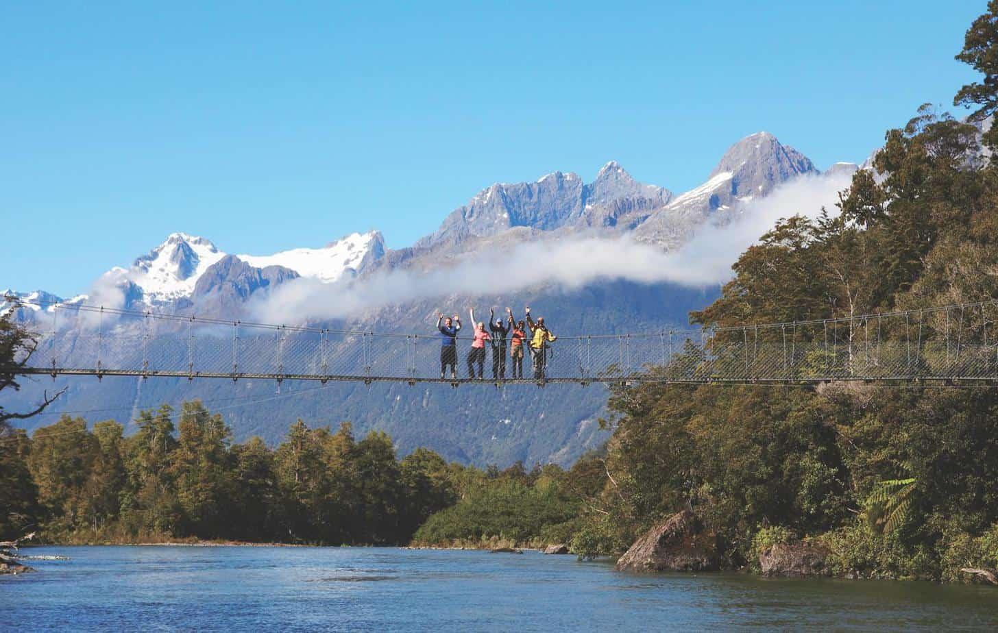 The Hollyford's longest swing bridge (c) Ngai Tahu Tourism. FWT Magazine.