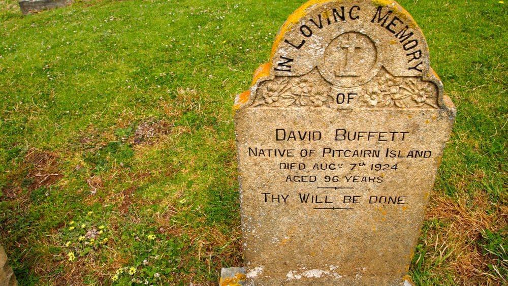 Heritage gravestone of David Buffett, a native of Pitcairn Island (c) Jacqui Gibson.