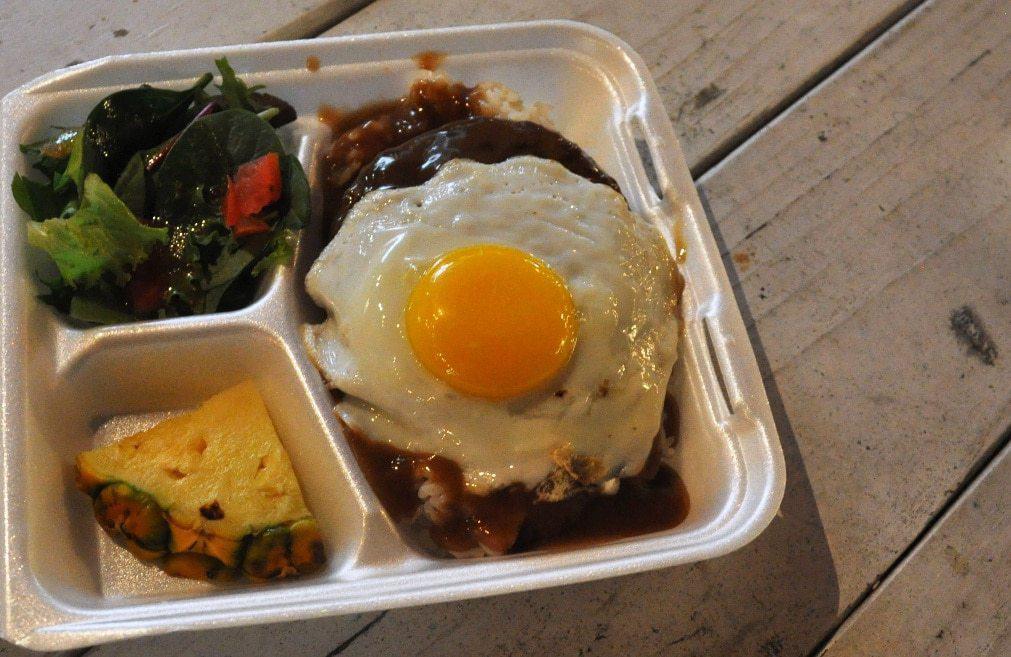 Loco Moco plate lunch from Loco Moco Ohana in Waikiki. © CT Shier. FWT Magazine.