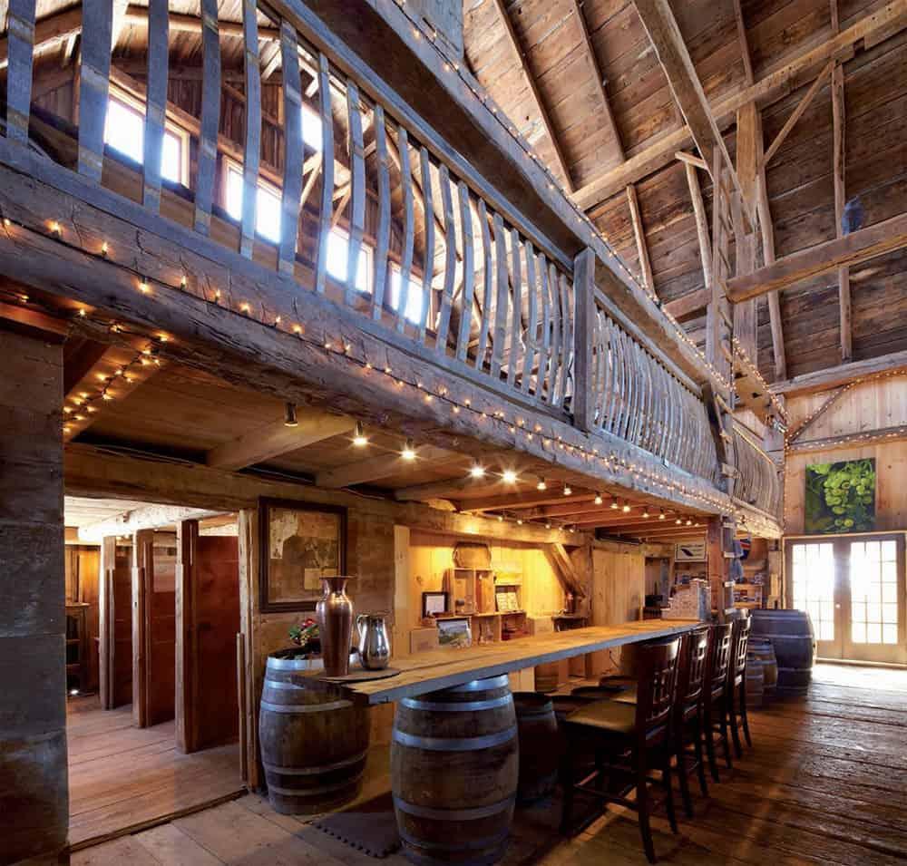 Tasting Room Inside 1805 Timber Frame Barn at Karlo Estates