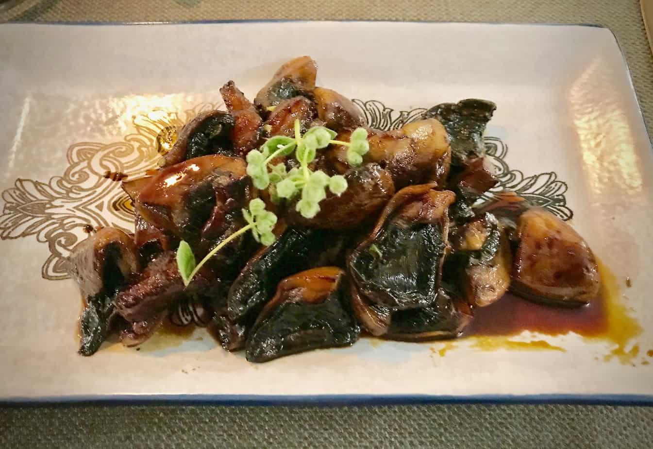 Mushrooms in petimezi sauce.