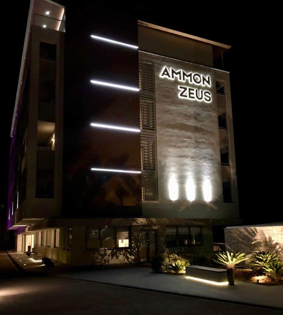 Nightime view of the Ammon-Zeus Hotel