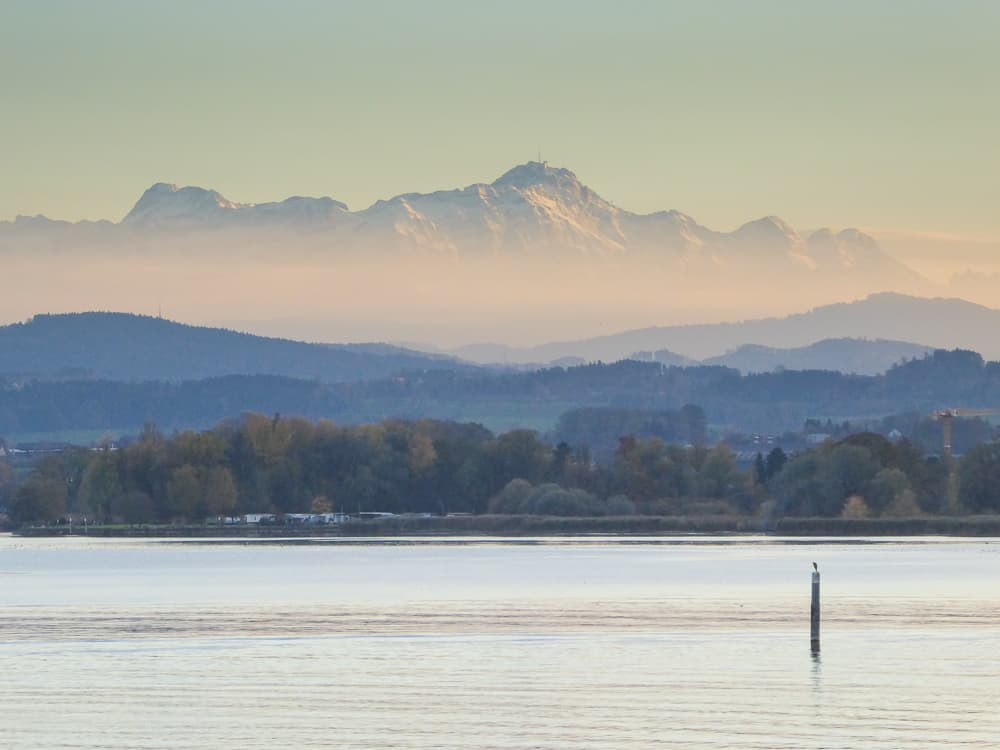 The Swiss Alps provide a scenic backdrop for Lake Constance © Tamara D Muldoon