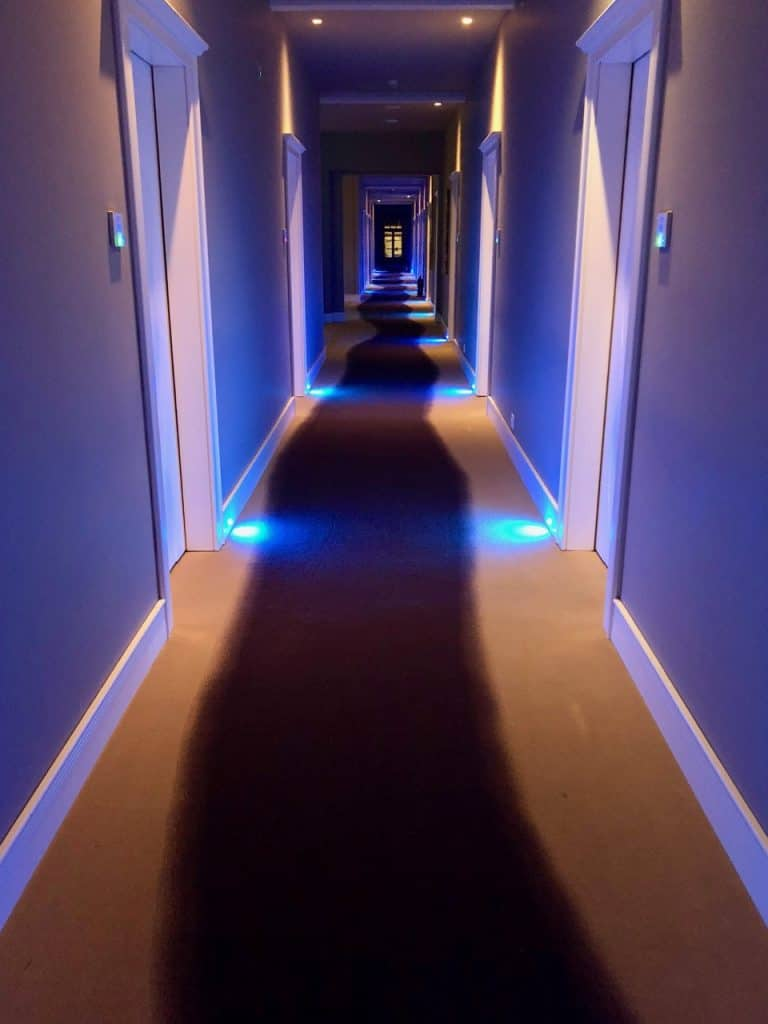 A hallway in the ultra-modern Hydrama Grand Hotel