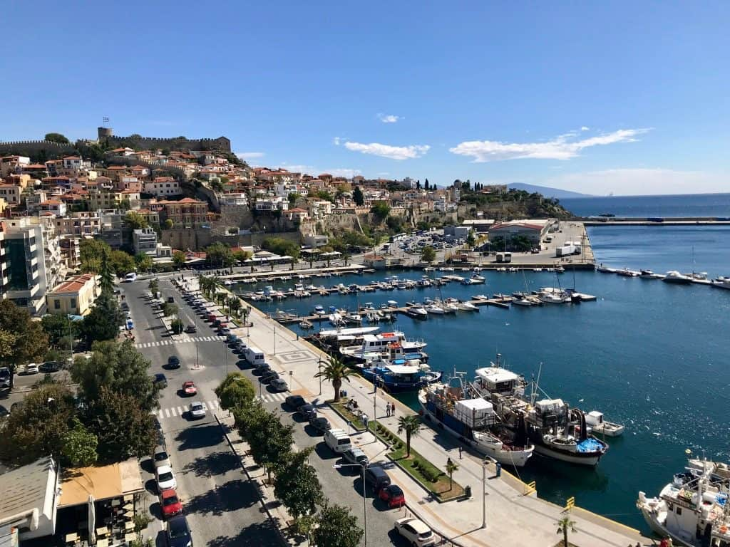 Partial View of the harbor at Kavala, Greece as shot from the rooftop restaurant at the Airotel Galaxy Hotel