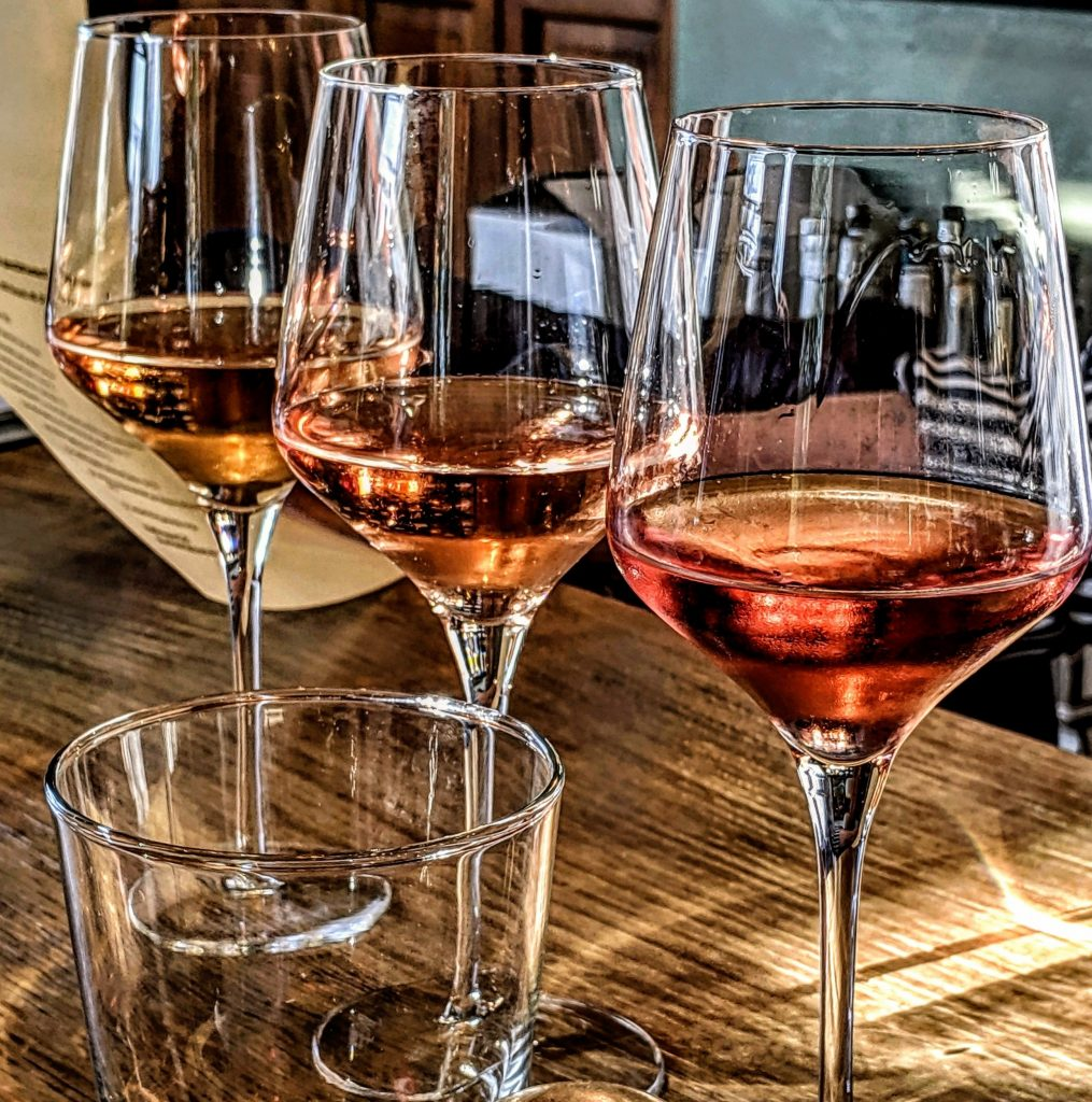 3 glasses or rose wine