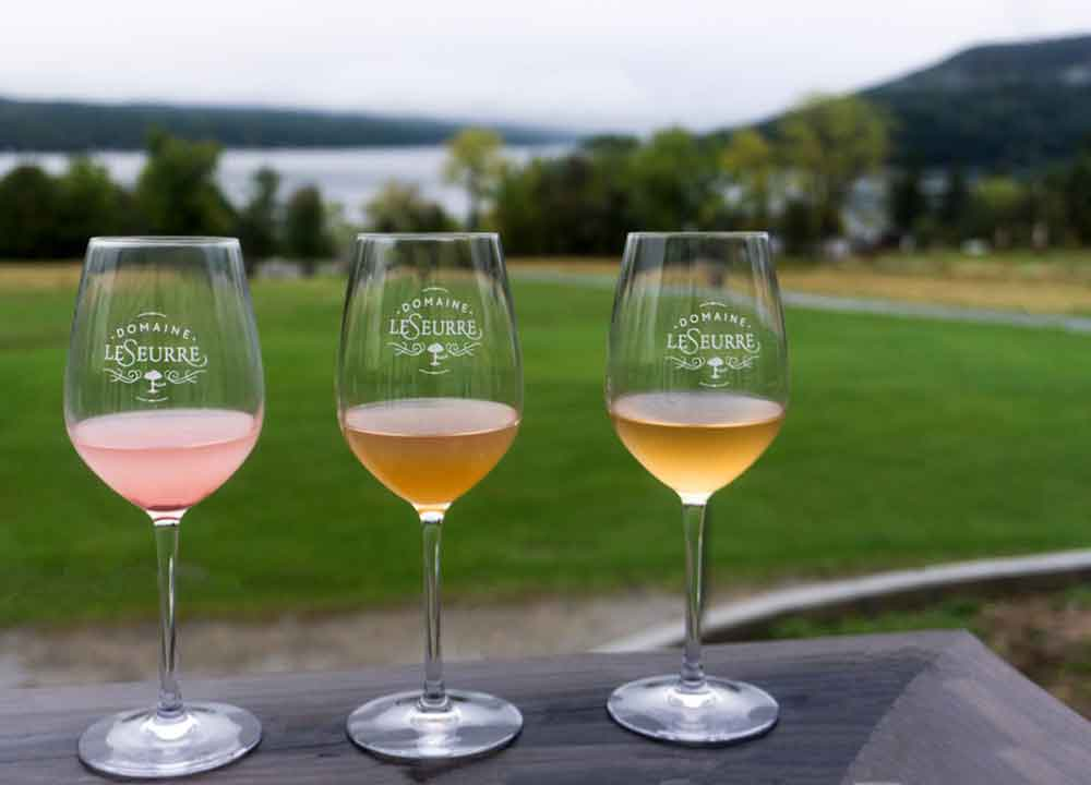 Domaine LeSeurre wines with a view of Keuka Lake