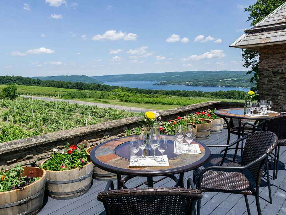 Overlooking Keuka Lake at Dr. Frank winery's 1886 terrace.