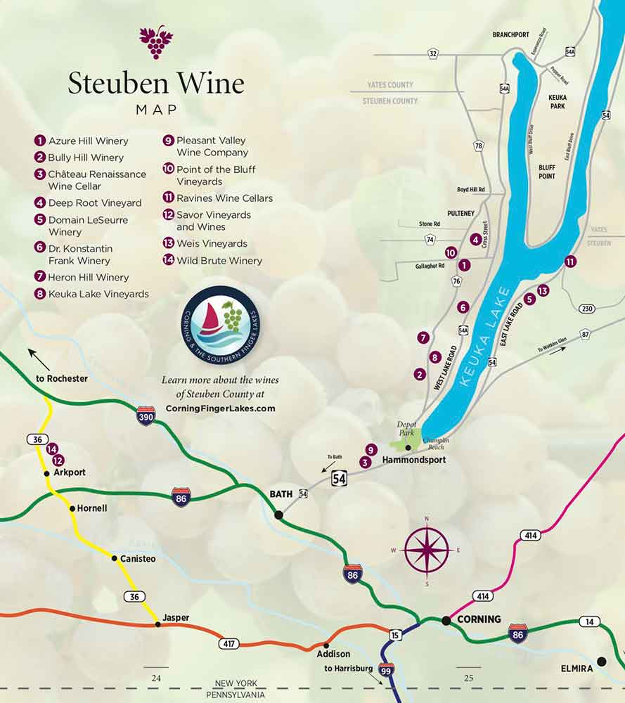Map of Wineries, Steuben County, New York