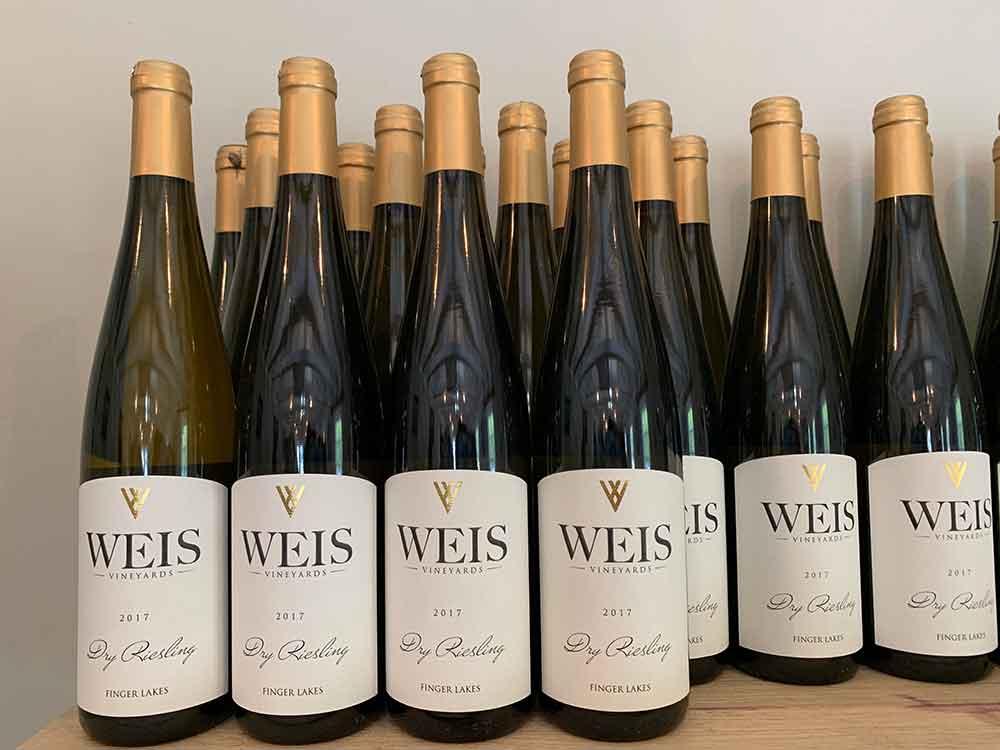 Weis Dry Reisling Bottles