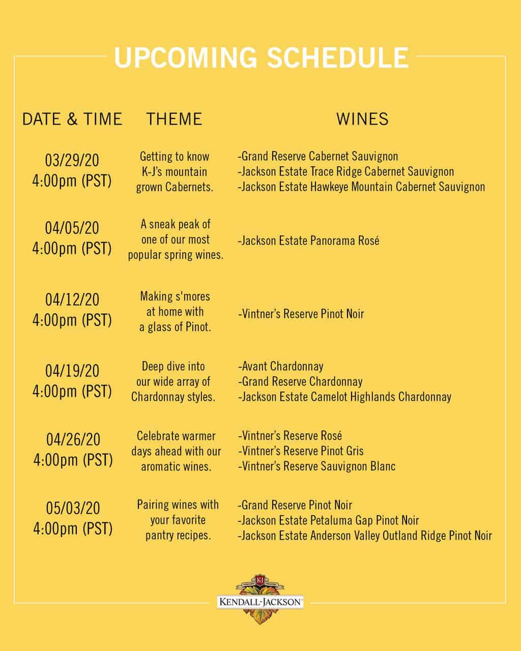 Kendall Jackson wine tasting schedule