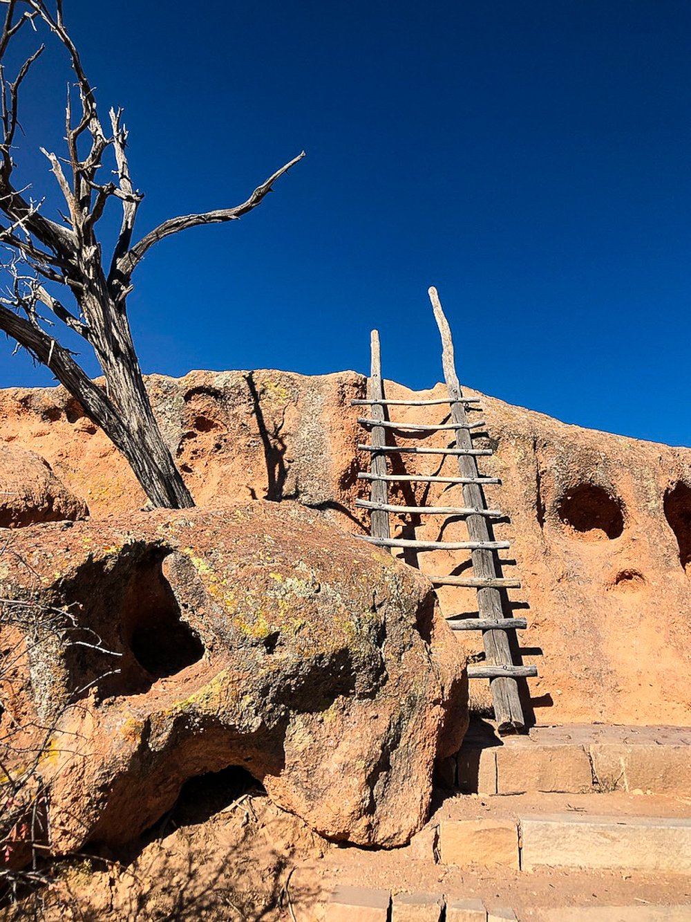 Ladders to a mesa top in Tsankawi, Bandelier Monument, Santa Fe