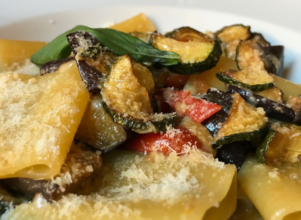 pasta with grilled vegetables and cheese