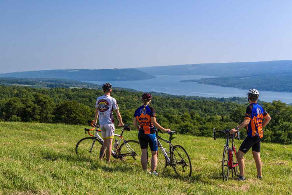 Bicyclists overlooking Keuka Lake