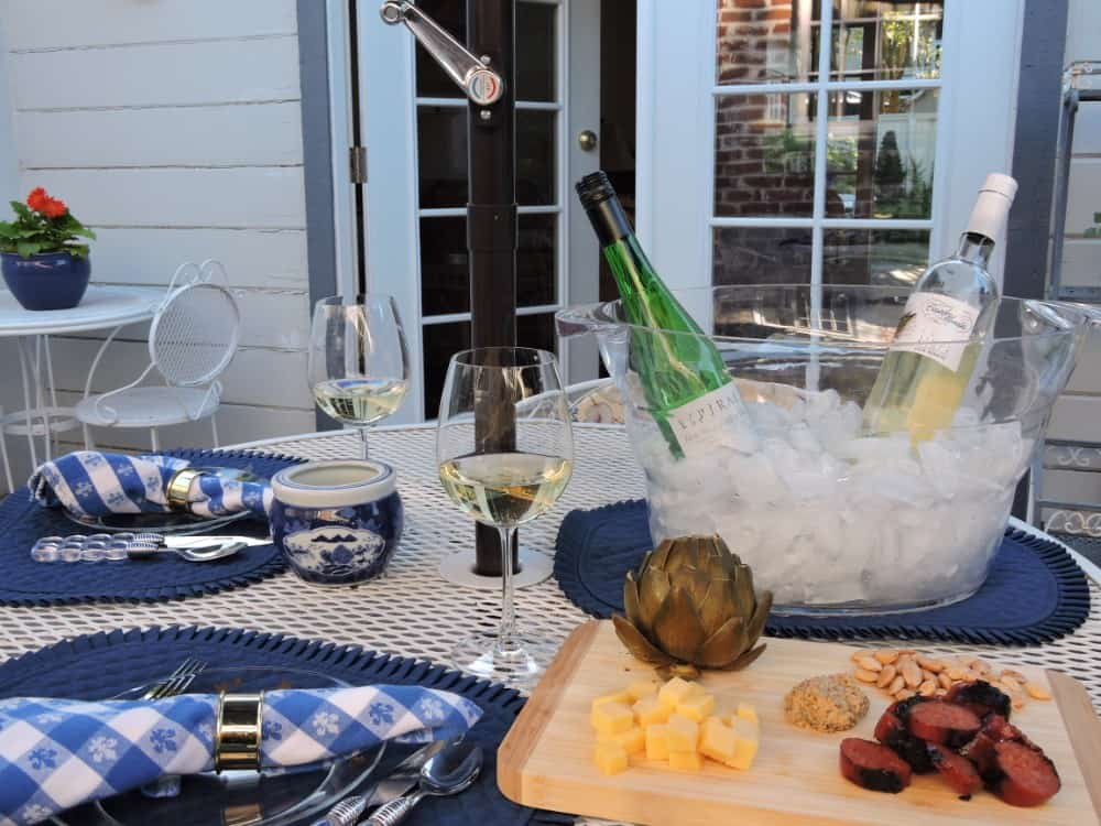 White wines on a patio table