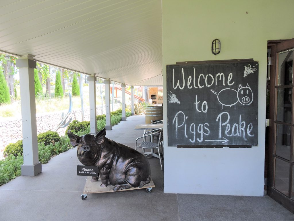Image of an iron pig at the entrance to Piggs Peake Winery