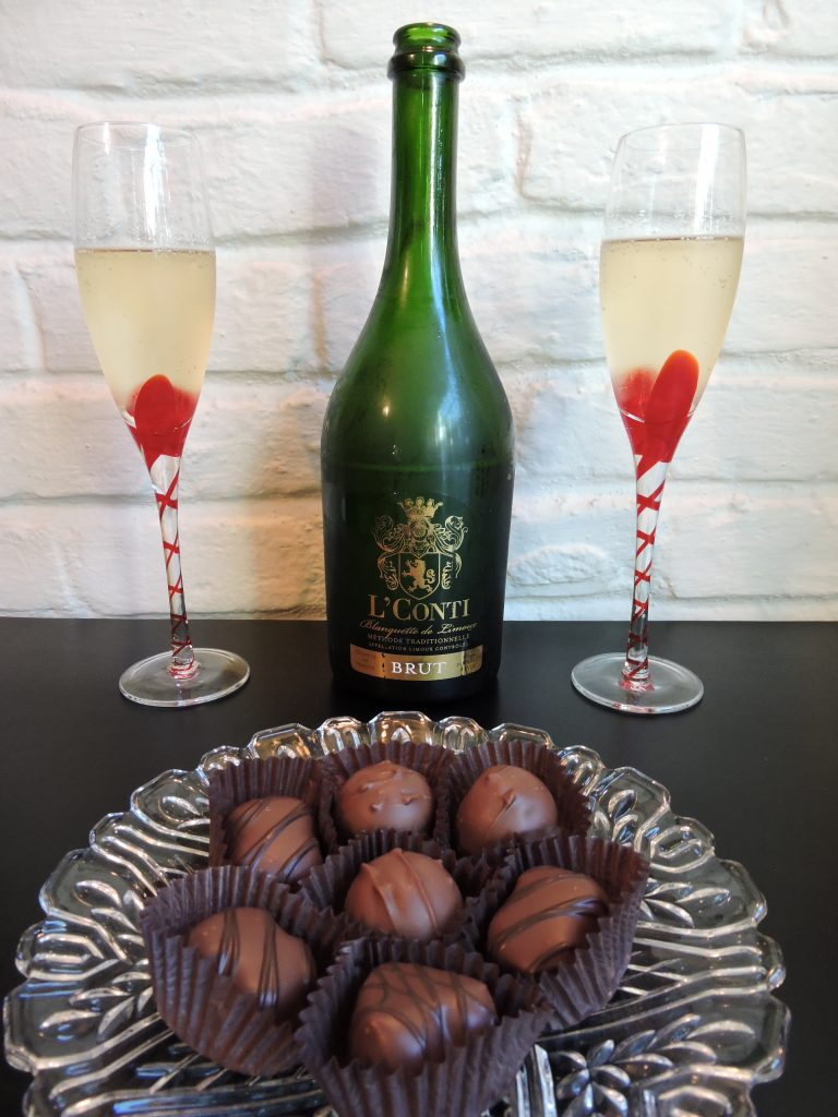 Image of sparkling wine and chocolates