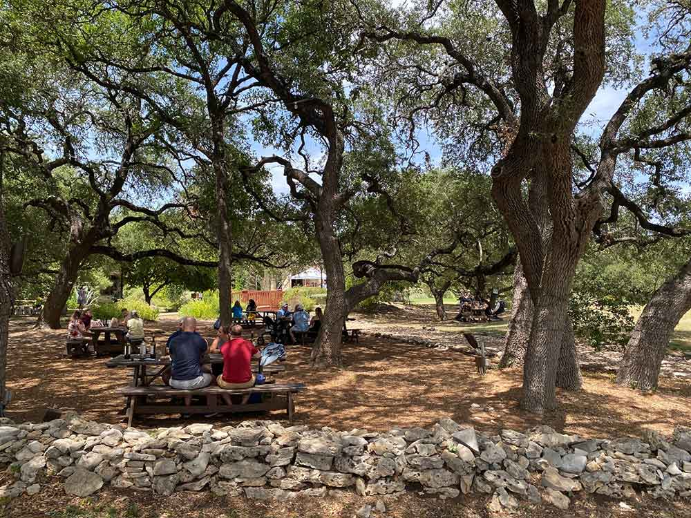 Duchman Family Winery tables under trees