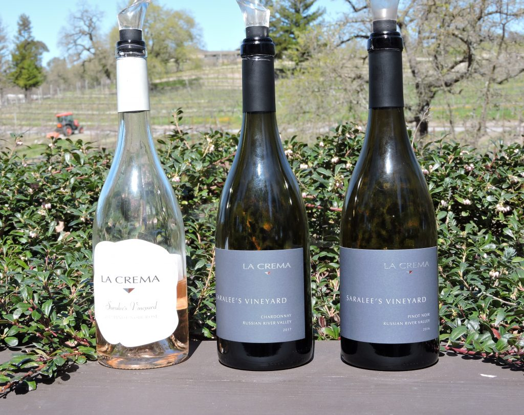 A bottle of rose, chardonnay and pinot noir at La Crema