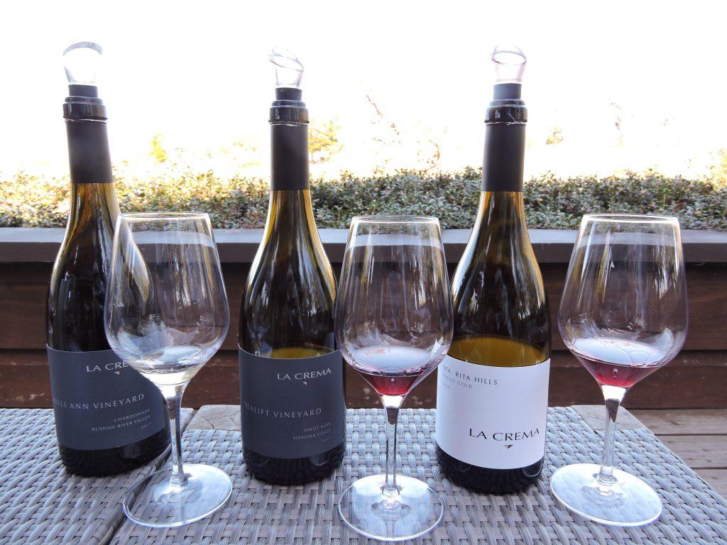 Three bottles of wine at La Crema