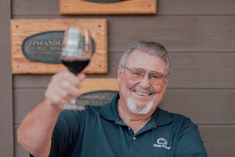 Gary Eberle holding a wine glass