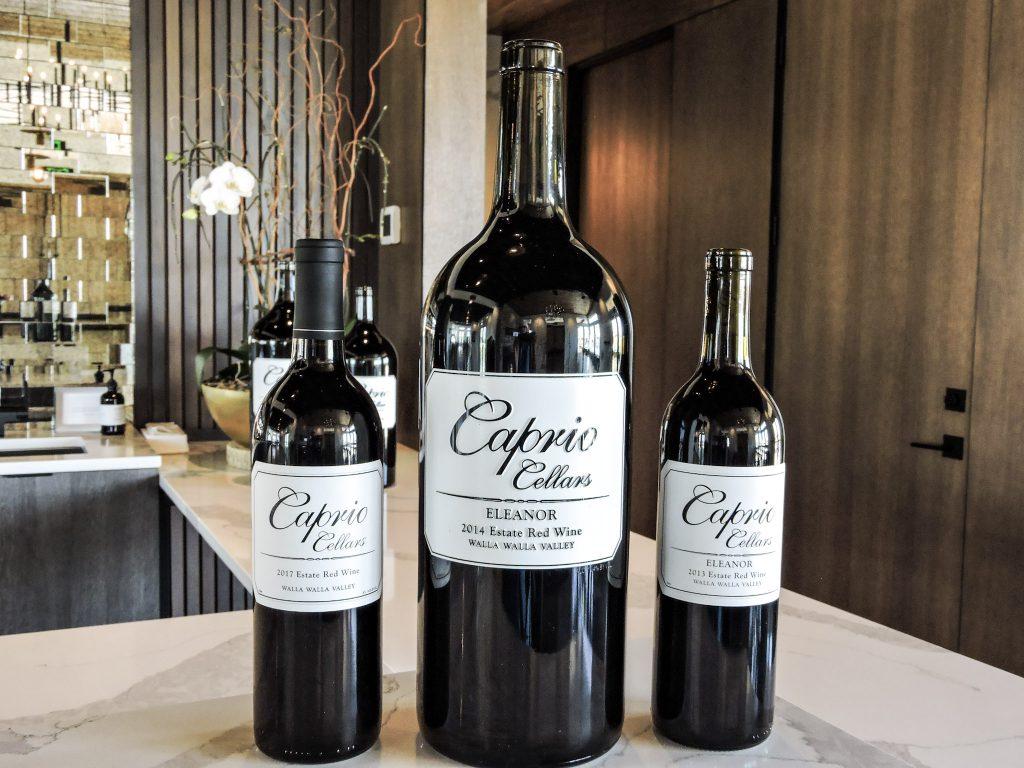Three bottles of Eleanor wine at Caprio Cellars